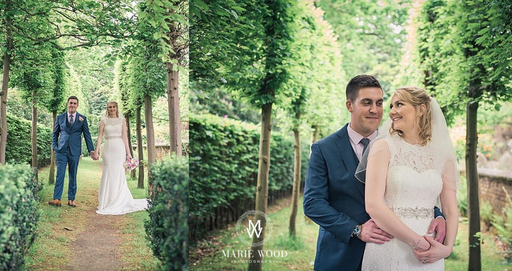 bride and groom outside st lawrence church in cheshire