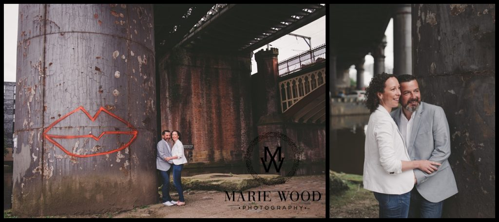 urban pre wedding shoot in Castlefield Manchester
