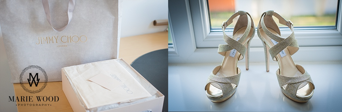 brides jimmy choo gold high heel shoes with box