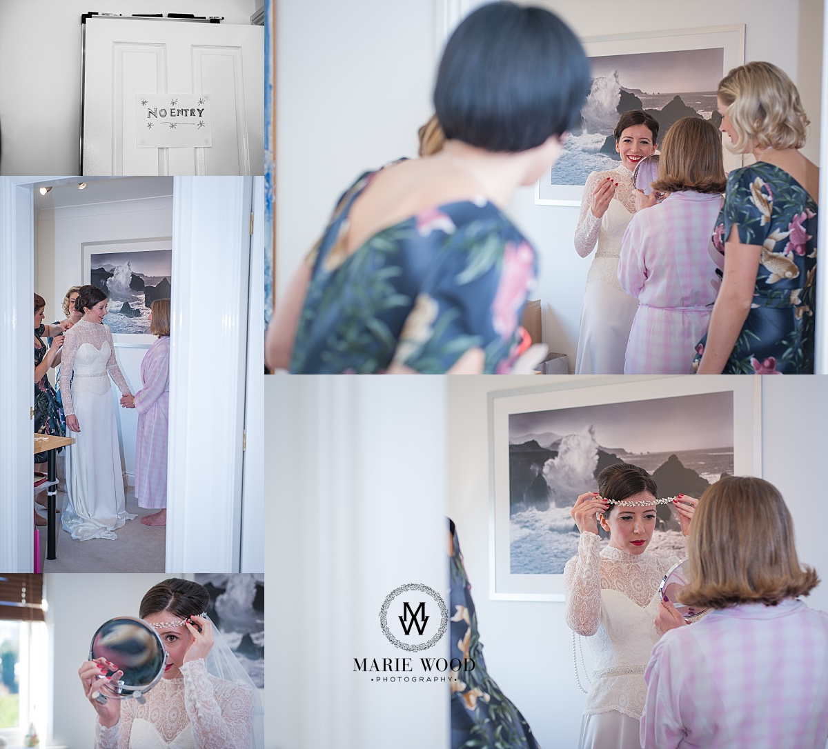 bride putting on her headdress supplied be eleventh heaven