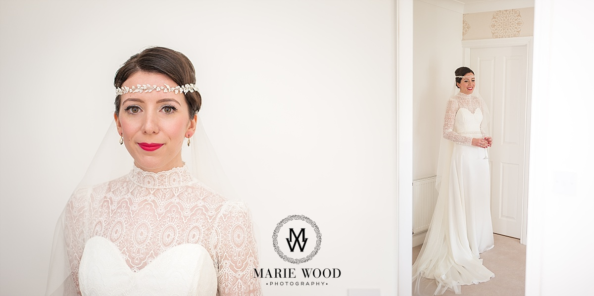 close up of bride in her headband supplied by eleventh heaven