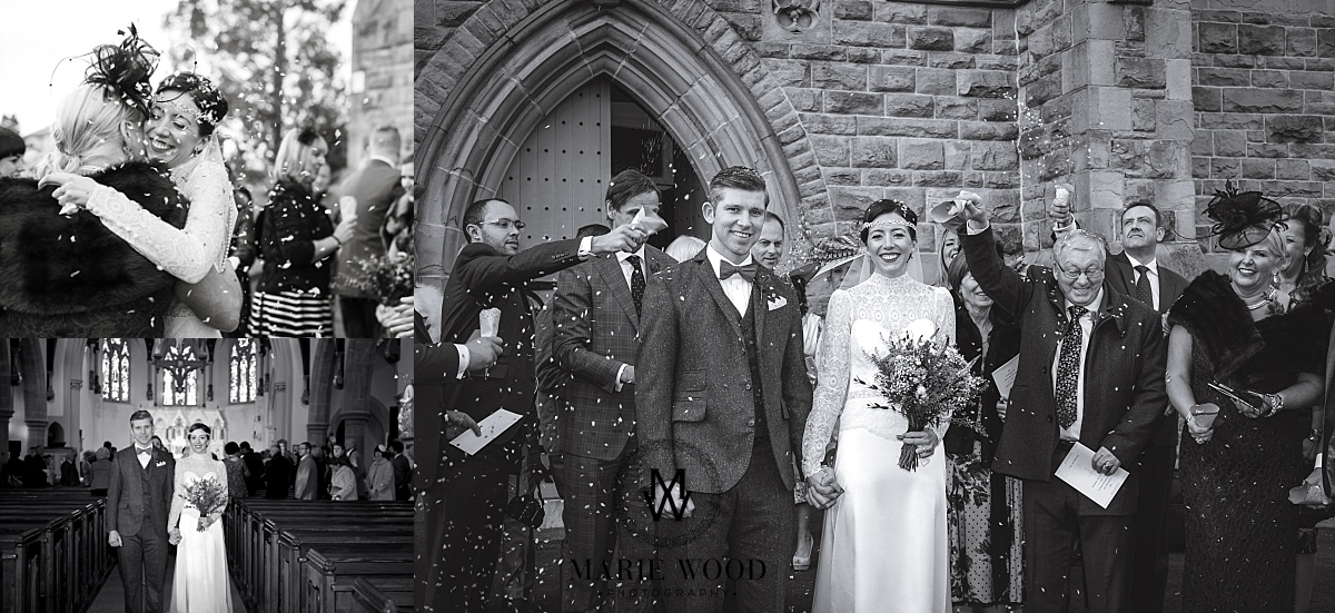 bride and groom now married stood outside the church for confetti photograph