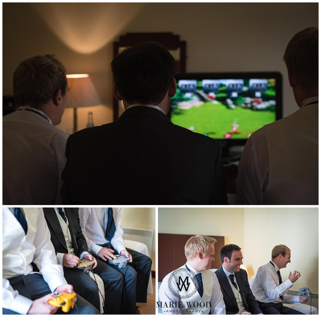 groom playing a video game before getting ready