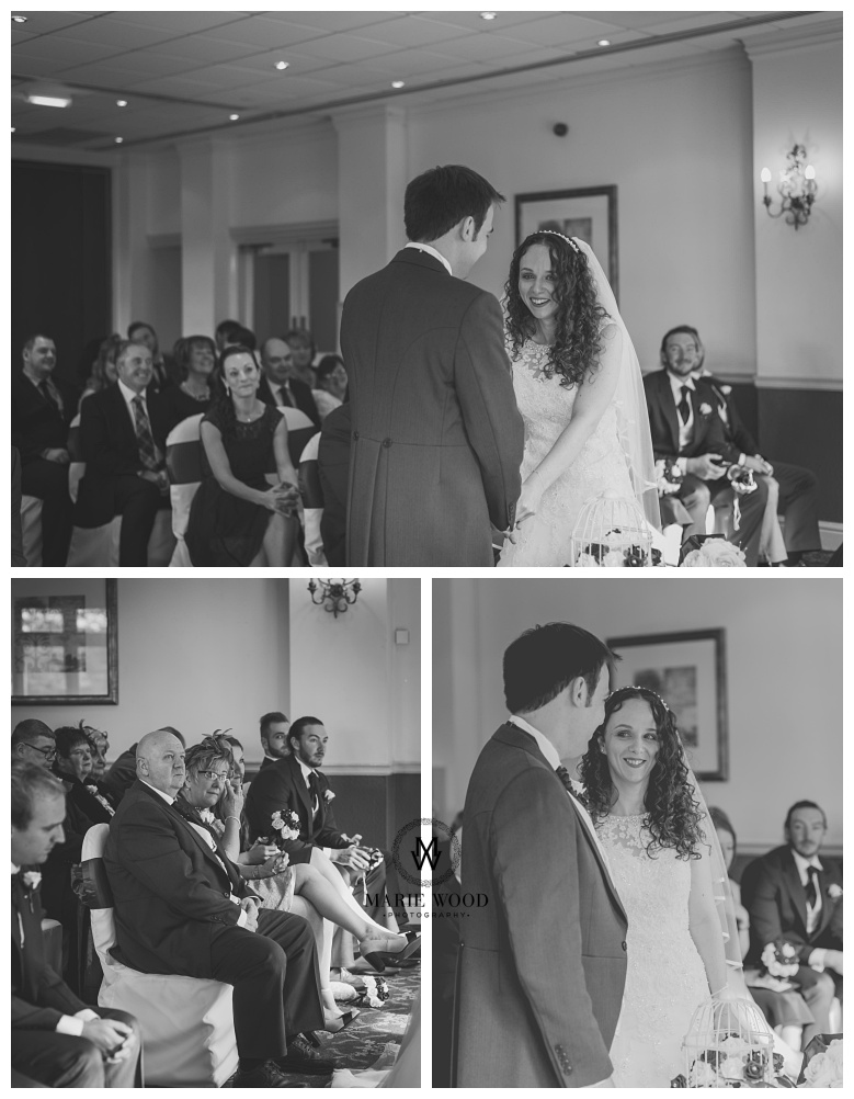 bride and groom taking their vows together at the dukenhalgh hotel