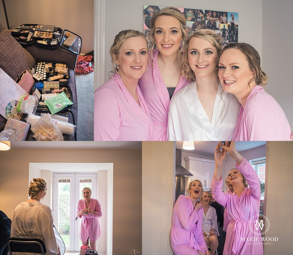 bride and bridesmaids getting ready on the wedding day