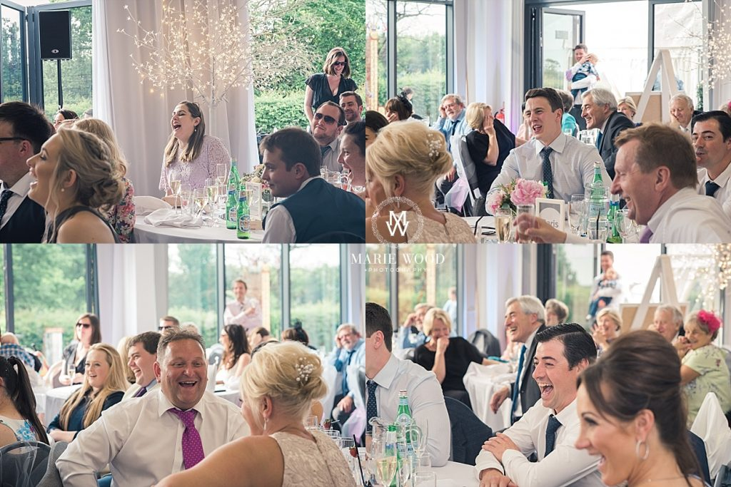 guests laughing at the grooms speach