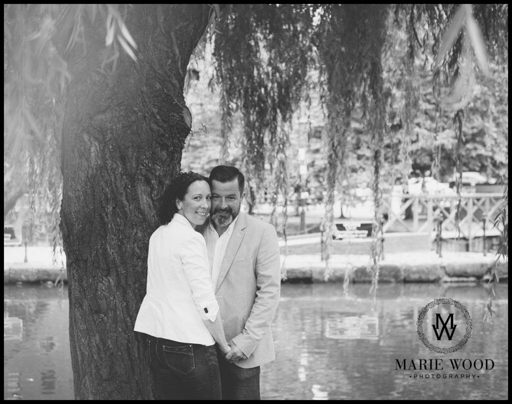 couple by the canal in manchester having their pre wedding shoot